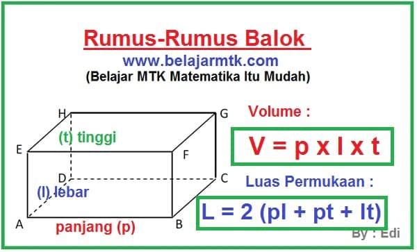 Rumus Volume Balok Dan Luas Permukaan Balok Lengkap Soalnya