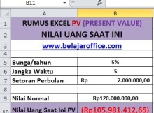 RUMUS EXCEL PV (PRESENT VALUE)