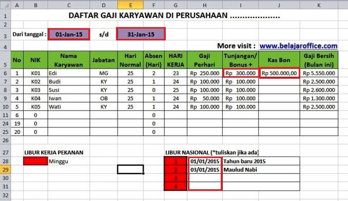 Download Format Menghitung Gaji Karyawan Rumus Excel