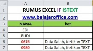 RUMUS EXCEL IF ISTEXT