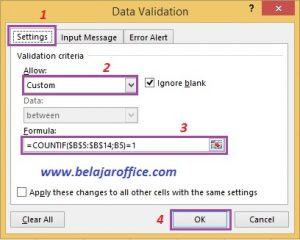 Data validation custom