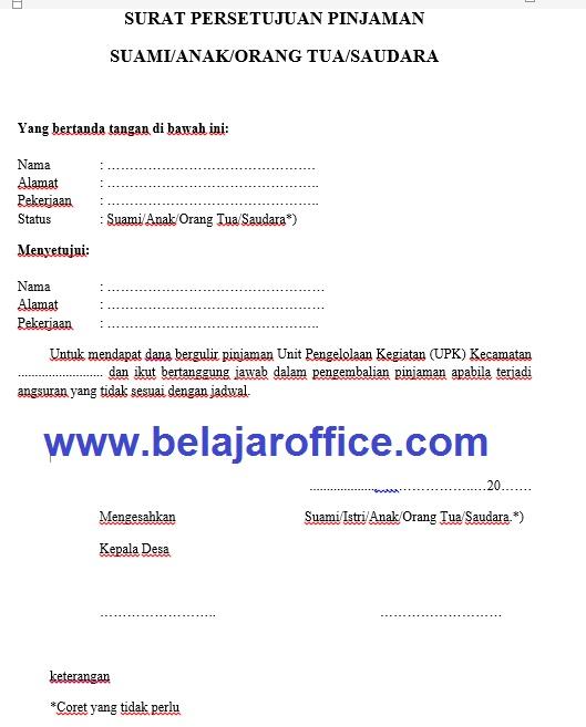 Contoh Surat Persetujuan Pinjaman UPK