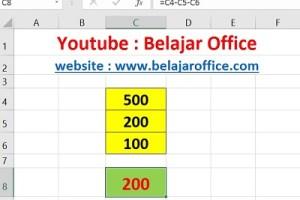 Cara 2 Pengurangan Excel