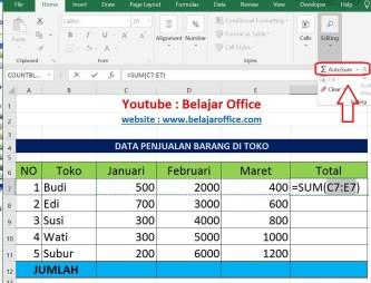 Cara 2 Penjumlahan Excel Otomatis