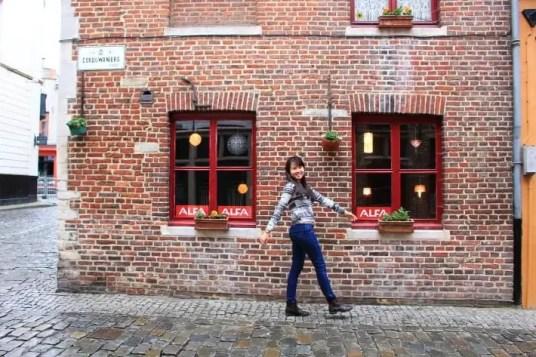 cute brick wall shops, ghent belgium