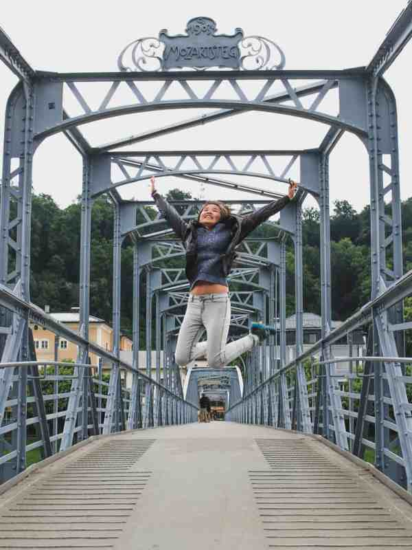 salzburg austria sound of music tour girl mozart bridge jumping happy joy