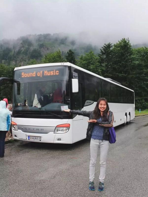 salzburg austria sound of music tour bus mountains fog girl pointing sign
