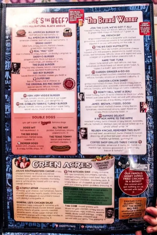 Big Daddy's menu, nyc restaurants, new york city