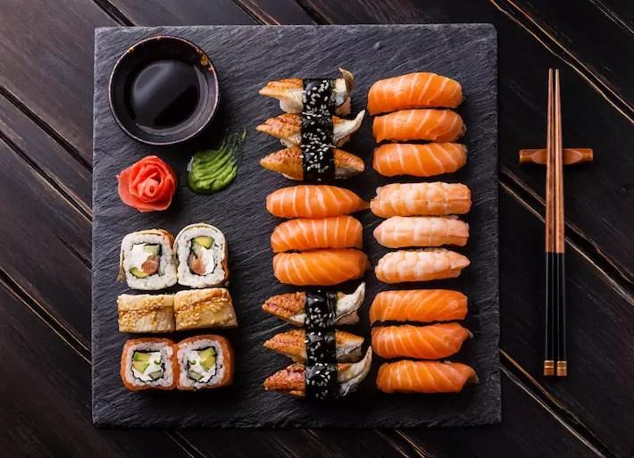 Sushi Set sashimi and sushi rolls, what to eat in sapporo, best food in sapporo, sapporo must eat, hokkaido famous food