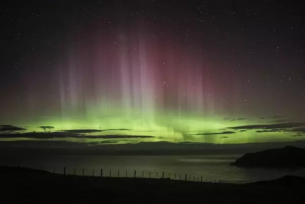 New Zealand's Southern Lights green purple