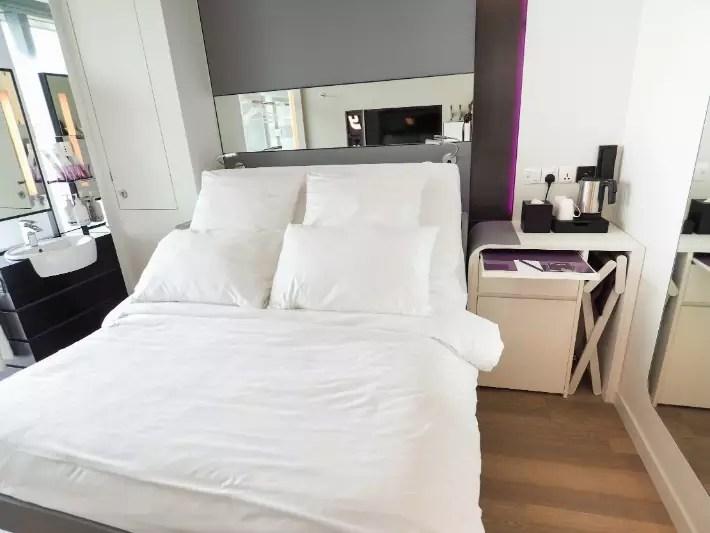 premium queen cabin bedroom, yotel singapore hotel review