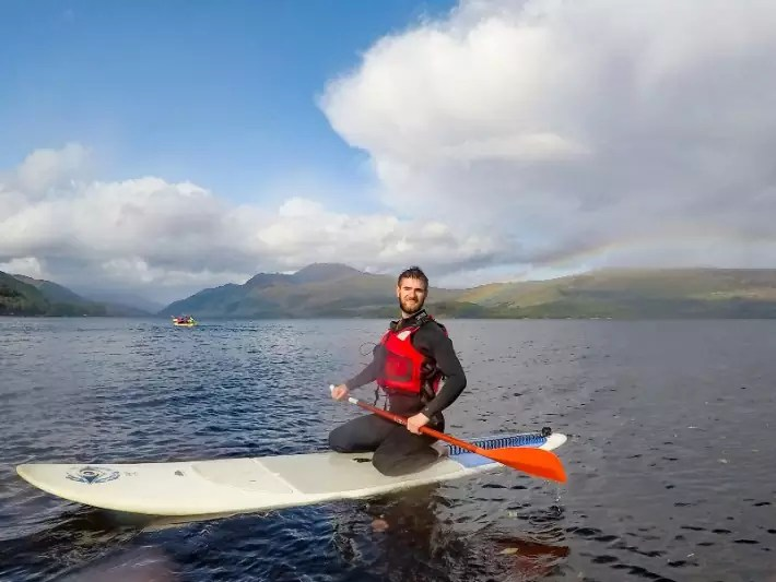 SUP paddleboard rainbow, Loch lomond, scotland itinerary