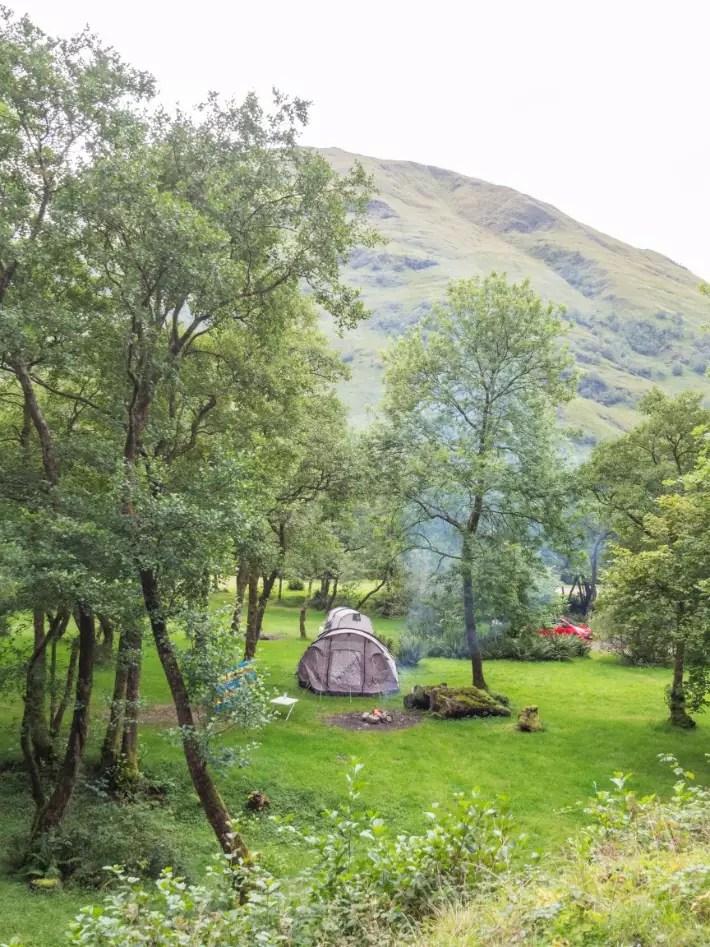 tent campfire wild, glencoe, scotland itinerary