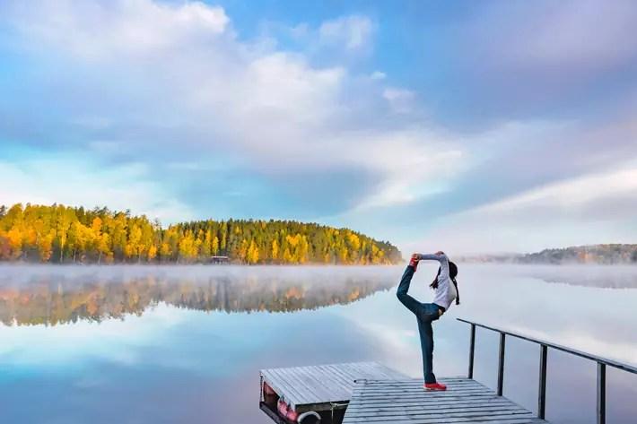 girl yoga, lake, sunrise, Nuuksio National Park
