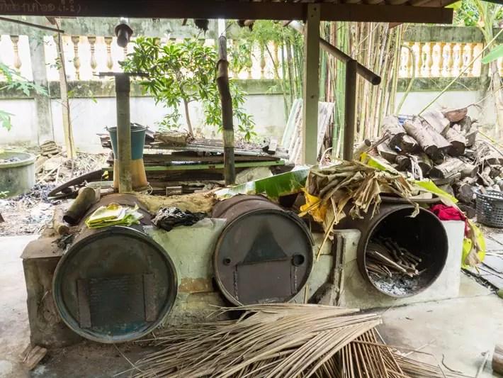 making charcoal, Day trips from Bangkok -Amphawa Floating Market, Maeklong Railway Market, Ban Bang Phlap