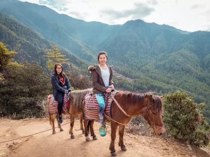 horse hike tiger's nest, bhutan