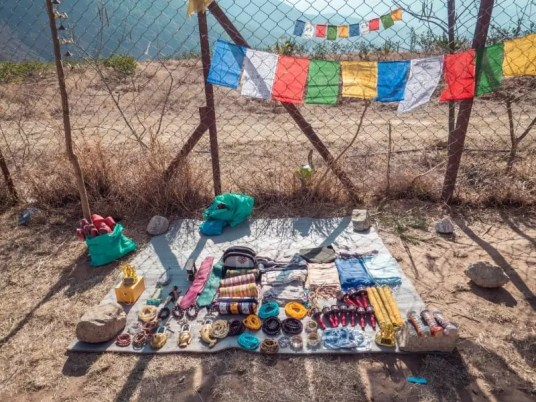 selling souvenirs, Chimi Lhakhang Phallus Bhutan