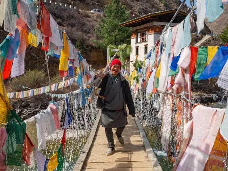 bhutanese-local-bridge-walk-what-to-eat-in-bhutan