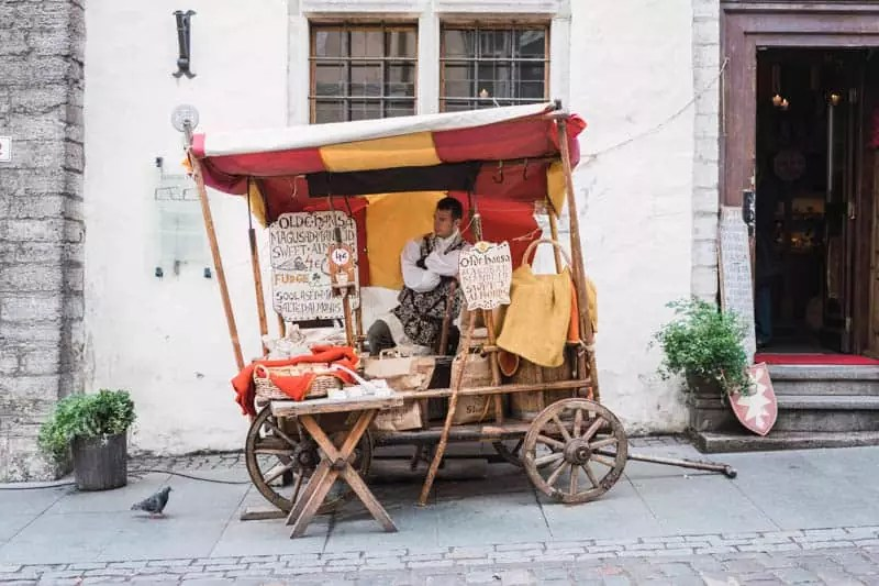 push cart food stall tallin estonia old town