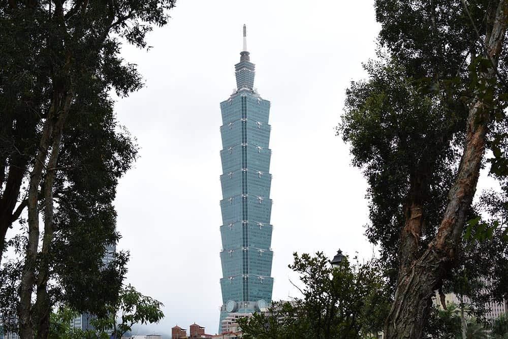 Taipei-101-through-the-trees, things to do in taipei taiwan