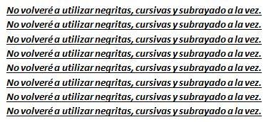 Cuando empleo cursivas, negritas o subrayado en un curriculum