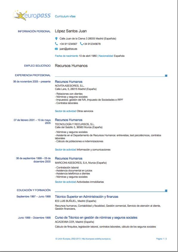 curriculum vitae europass ejemplo