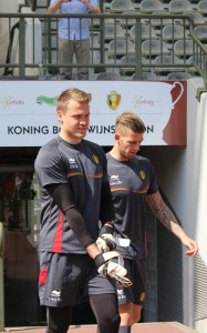 Simon Mignolet and Toby Alderweireld - two of the five BPL players starting tonight (copyright John Chapman)