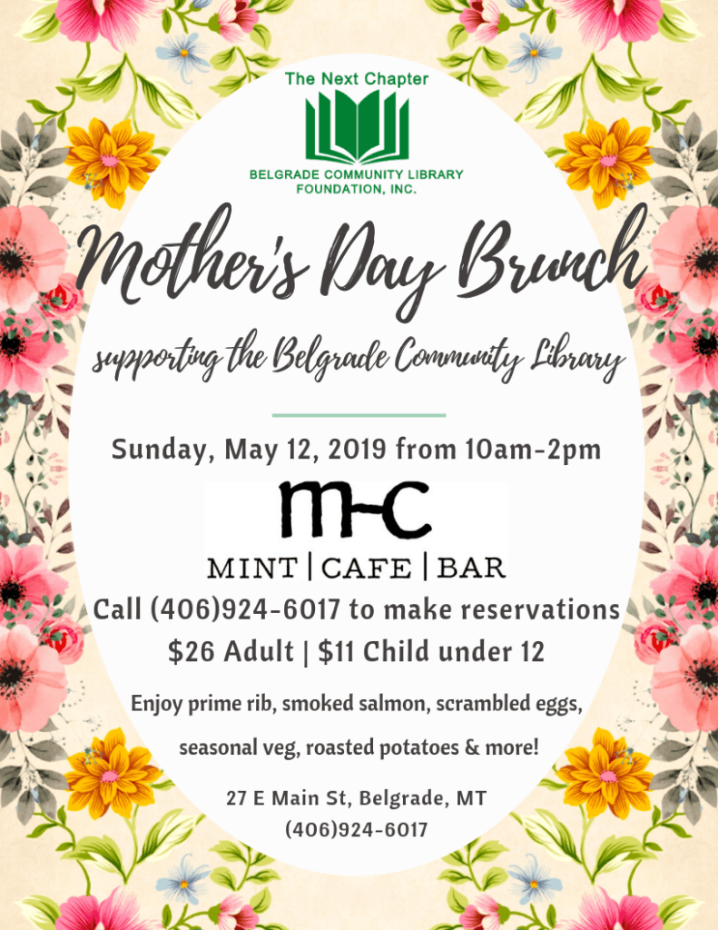 Mother's Day Brunch supporting the Belgrade Community Library.