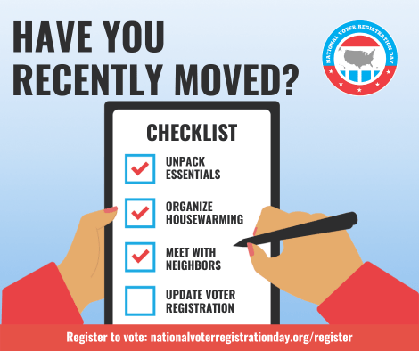 Moved recently? Register to vote!