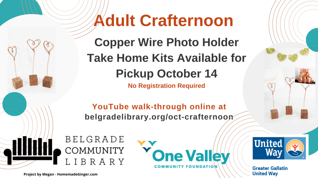Adult Crafternoon kits available on Oct 14.