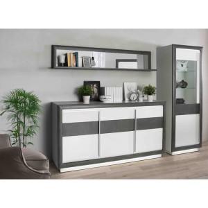 bahut 3 portes 2 tiroirs beton gris fonce blanc monaco