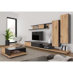 meuble tv paroi murale gris laque et bois storm