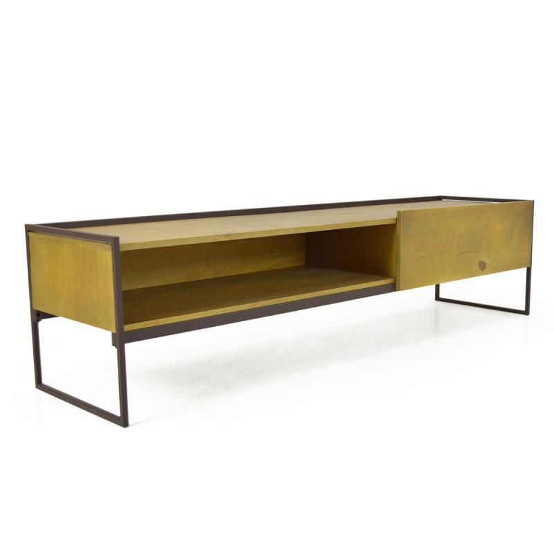 meuble tv en pin massif et metal nordik
