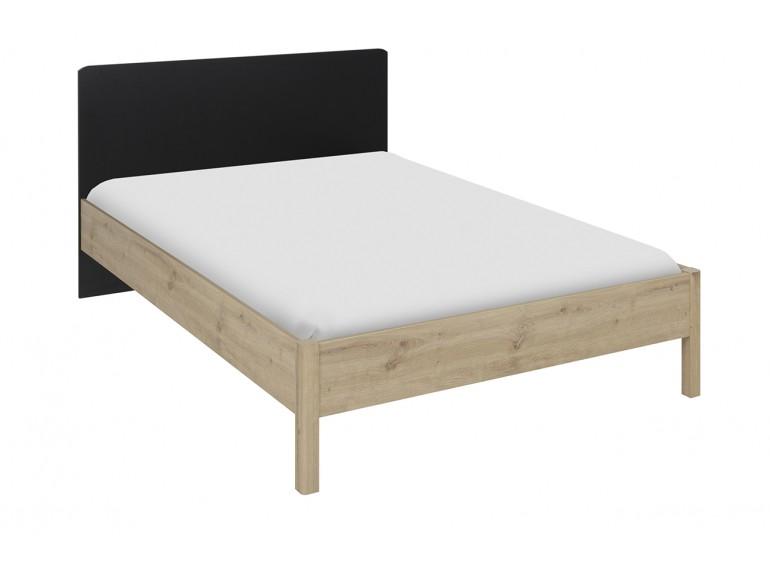 lit double 140x190 decor chene beige et tete de lit noir arthur