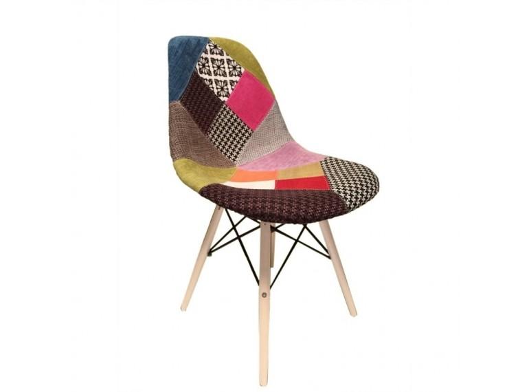 chaise scandinave patchwork en tissu bois de hetre retro