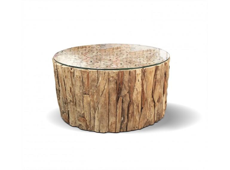 table basse ronde en teck plateau de verre mallavi