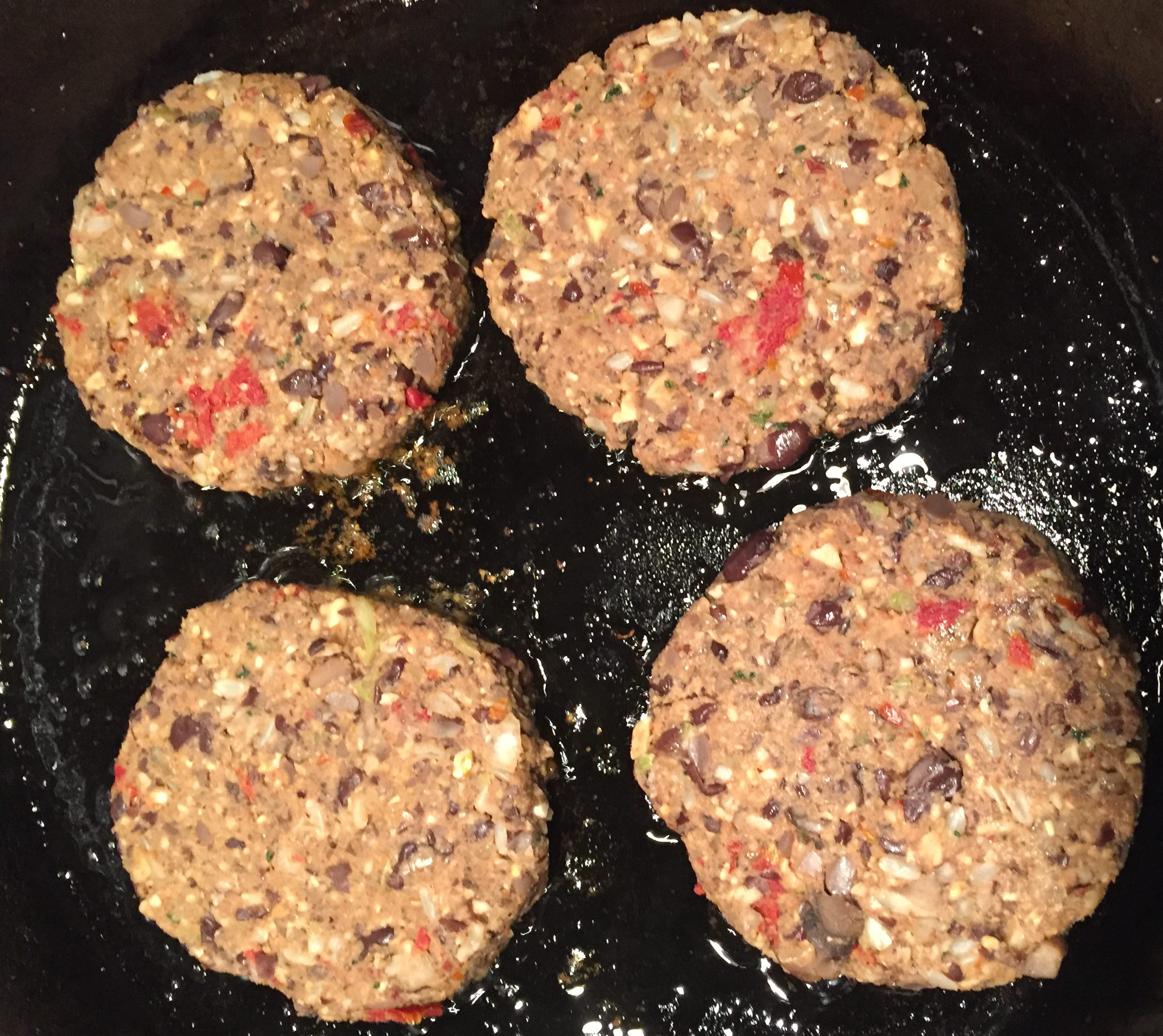 browning vegan bean burgers