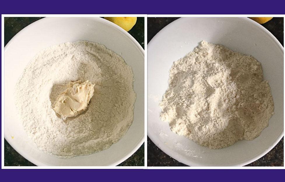Mixing cashew butter in with flour believeinvegan.com