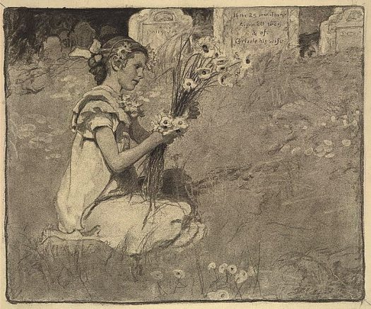 A charcoal drawing by Elizabeth Shippen Green showing a girl gathering flowers in a graveyard