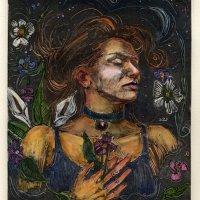 Monotype: Ophelia (& a survey of Printmaking inks)