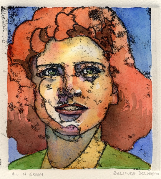 A trace monotype print with watercolor washes of a red headed girl with green eyes and a green collar