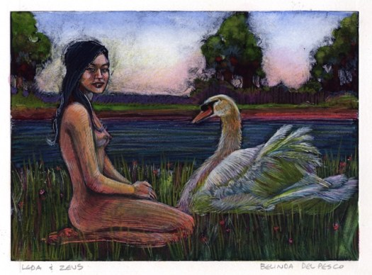 a dark field monotype with colored pencil of a nude woman sitting on her folded legs by a pond, talking to a beautiful swan, titled Leda and Zeus