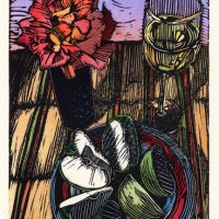 Linocut print - Viognier and Apples - and Linocut Ideas