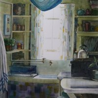 Watercolor - Cottage Kitchen - and getting past the ugly stage in watercolor painting