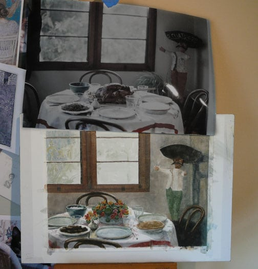 a watercolor in progress, with a thanksgiving table reference photos being painted as a floral and dessert ladden setting