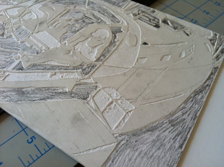 making a collagraph from mat board