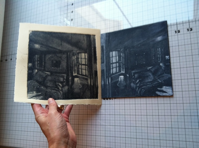 pulling a silk aquatint print on the bed of an etching press