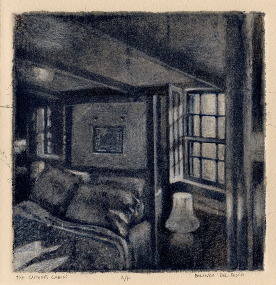 a black and white intaglio print showing a bed with windows on each side and light spilling through the pane'd windows into sloped ceiling room