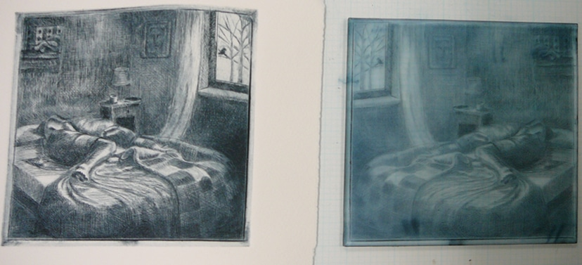 drypoint print on plexiglass