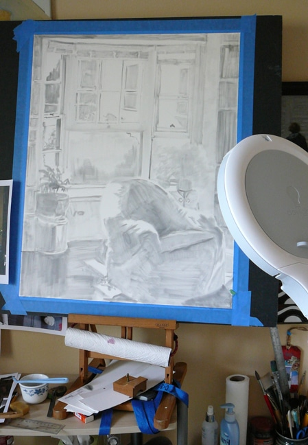 underpainting with powdered graphite